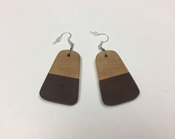 Earrings Hand Made with Maple and Santos Mahogany Hardwoods