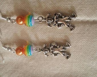 Harlequin multicolored Pearl Earring