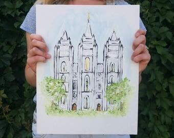 Salt Lake City LDS Temple : acrylic paint - print