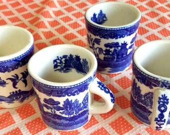 "Coffee Mugs,  ""Hand Painted"" Vintage English Willow Pattern  , Set of 4"