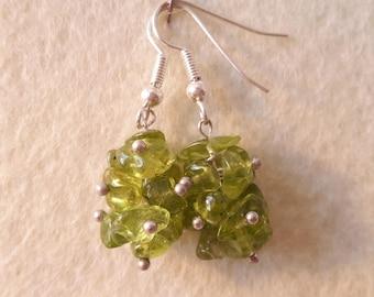 Energy earring, Peridot cluster