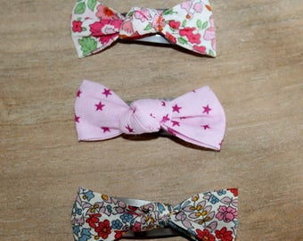 Set of 3 Liberty Emilia's pink, Rose and star Anjo Flower Barrettes