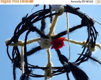 ON SALE Hand woven black bamboo dream catcher Studded roses Dreadlocks