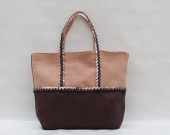 The bag in 100% linen bi-color Rose salmon and plum with sequins wave Bi color pink salmon and plum