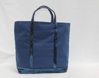 Navy Blue Tote with round sequins