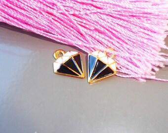 Pendant Golden enameled black and white shape diamond, charm pendant, enamel