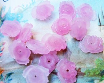 VINTAGE x 4 pink glass flower bead
