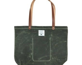 Waxed Canvas Market Tote - Olive
