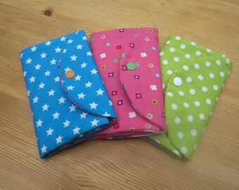 Customizable strips of fabric - green case with white dots - case or pouch