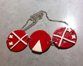 Necklace 3 red and white polymer clay medallions