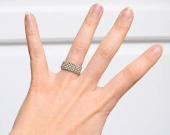 Silver Miyuki Delica beaded ring