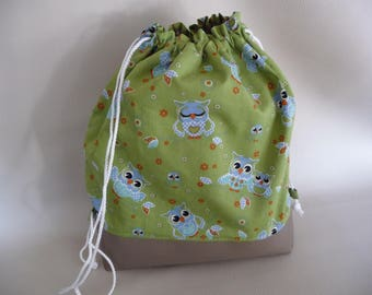 """""""Toy"""" made green pattern fabric OWL backpack."""