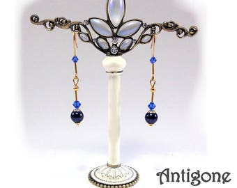 Original retro earrings with blue marquise beads Antigone