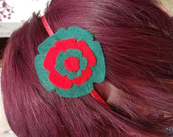 Two-tone green and red felt headband
