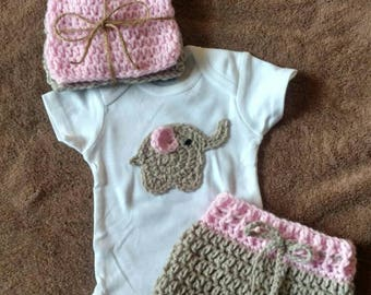 4 piece 0-3 months elephant outfit set baby girl baby shower gift