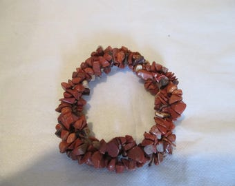 elastic bracelet 3 rows of braided imitation GOLDSTONE chips