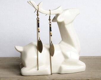 Long and thin earrings beads miyuki black ivory