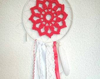 Dream catcher doily, lace and Ribbon