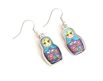Purple and blue MATRYOSHKA earrings