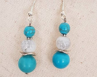 Silver plated genuine turquoise Pearl - Pearl White glass marbled hook earrings