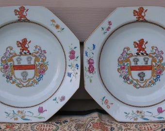 Authentic Chinese Armorial porcelain pair of plates with arms of Tyndall Qianlong period  circa 1755