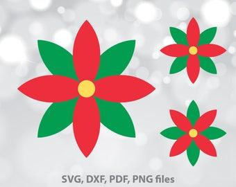 Poinsettia SVG file, Flower dxf, Mistletoe Cut file, Mistletoe Clipart, Christmas SVG, Christmas Cut File, Cricut, Silhouette, Xmas designs