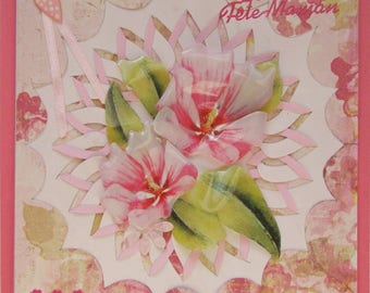 greeting card for mother's day with 2 large thermomodelees flowers, 3D