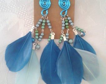 Large coil and feathers - Turquoise (GBOS001) earrings