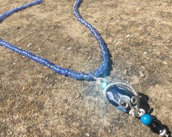 Handmade blue wire wrapped pendant necklace