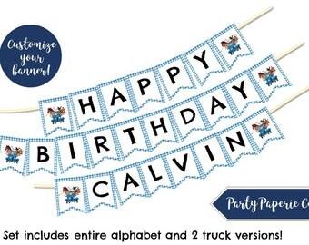 Little Blue Truck Banner, Custom Happy Birthday Banner, Happy Birthday Sign, Happy Birthday Bunting, Little Blue Truck Party Sign