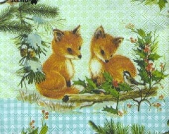 001 the baby FOXES pattern 4 X 1 lunch size paper towel