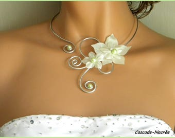 Silver Pearl wedding bridal necklace ivory aluminum lime green plum silk flower