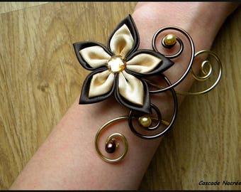 Celine flower chocolate gold foil silver Pearl wedding bridal bracelet