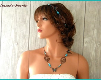 Butterfly jewelry turquoise chocolate silk aluminum brass bridal wedding Pearl Flower necklace