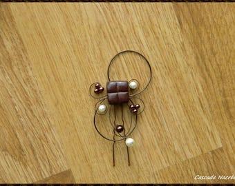 jewelry of hair stick, hair accessory, hair stick gourmet chocolate ivory bridal aluminum bead wedding candy