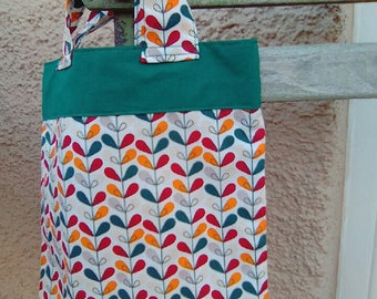 Mini tote bag for girl green/orange
