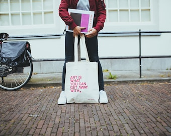 Andy Warhol ' Art is what you can get away with '. Super sturdy shopper with Andy Warhol Quote.
