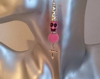 pink skull earrings with frosted fabric beads