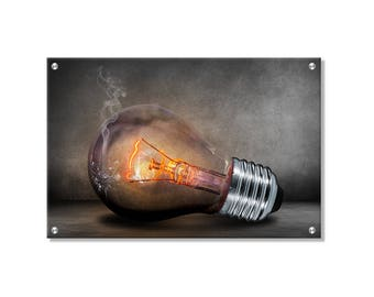Smoky Bulb Metal Wall Art