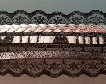 """""""Lace and leather"""" cuff 17cm + 3"""