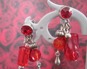 earrings to pendants / charms red and metal beads