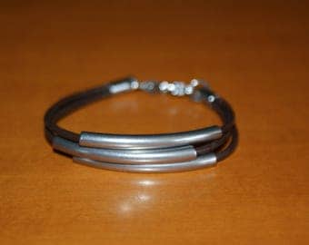 Bracelet tube stainless steel and leather