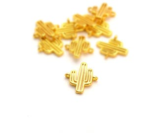 1 small connector gold cactus copper 14x13mm