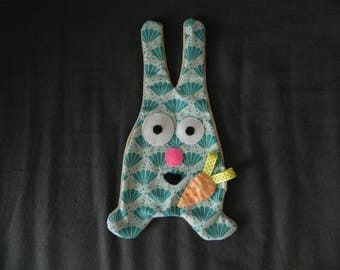 Cuddly Bunny flat velvet fabric and blue-green cotton