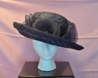Custom made Navy Blue Tulle Hat
