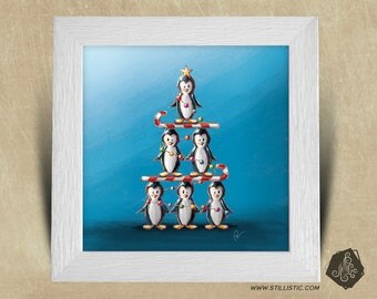 25 x 25 with Illustration of penguins and candy canes Christmas kids baby room tree square frame