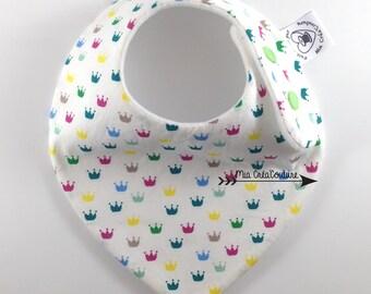 "Anti bavouille ""Multicolored crowns"" bandana bib"