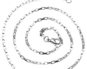 Necklace chain mesh rectangular (2.15 mm) - Metal Stainless Steel - Silver - 50 cm - COLCHSST215AG005