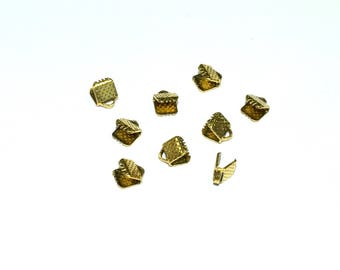 Set of 50 caps claws to catch Metal eco. -For plate (6mm) - old gold - EMBGRI615VOR374 cord