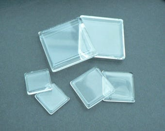 Glass cabochon - 15mm - square dish, Non-grossissant